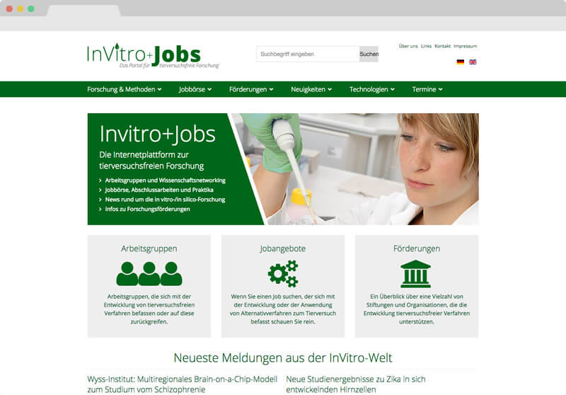 Screendesign Invitro+Jobs