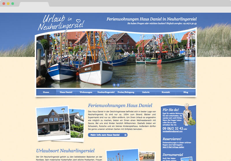 Screendesign Urlaub in Neuharlingersiel